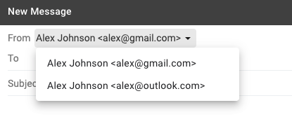 The selector in Gmail to choose which account you want to send your email from