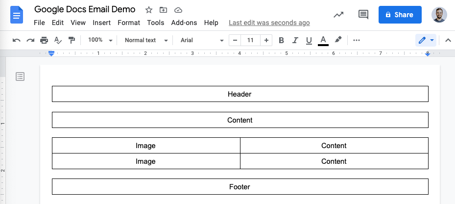 An email outline, organized as a series of tables for the layout