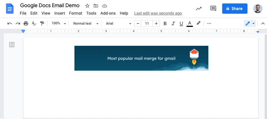 An email being created in Google Docs with an image header