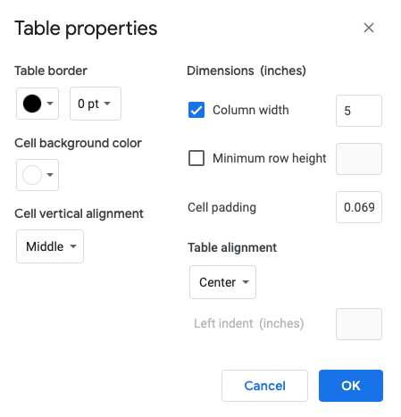 The table properties screen of Google Docs showing the necessary settings