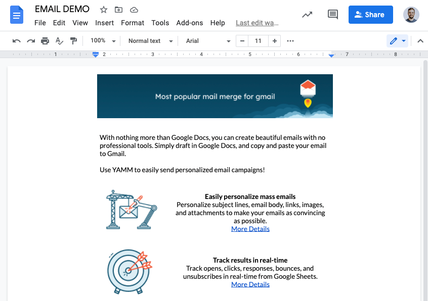 An email being created in Google Docs with an image header and body