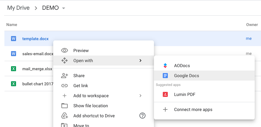A screenshot of the Google Drive interface opening a Word File