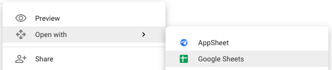 Shows how to open a file with Google Sheets in Drive
