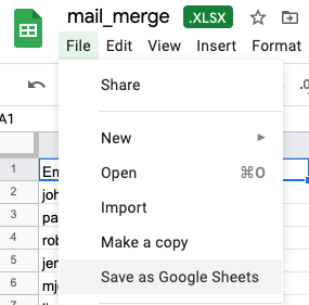Shows how to save an Excel file as Google Sheets