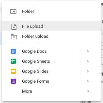 Shows the file upload button in Google Drive