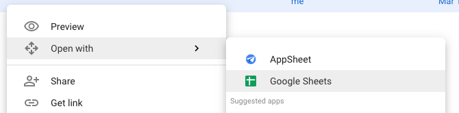 Shows how to open a file with Google Sheets in Google Drive