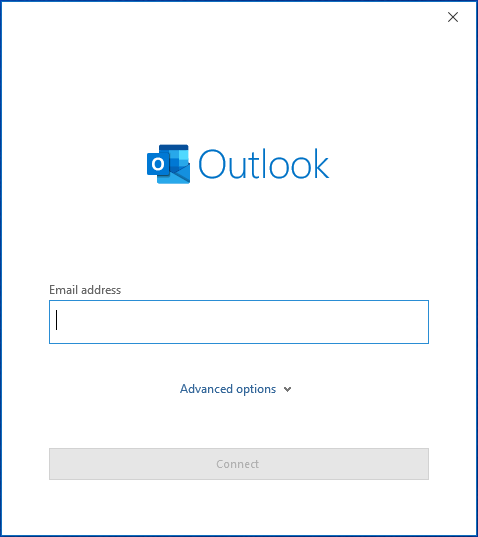 Microsoft Outlook prompt to enter an email address and add an account