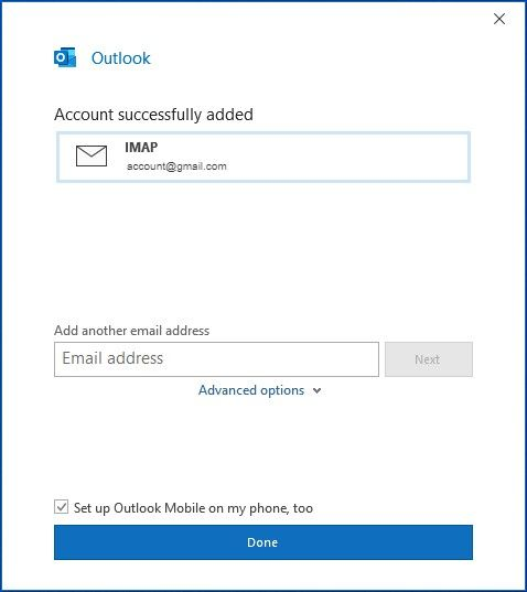 Shows the success screen for adding an email account to Outlook