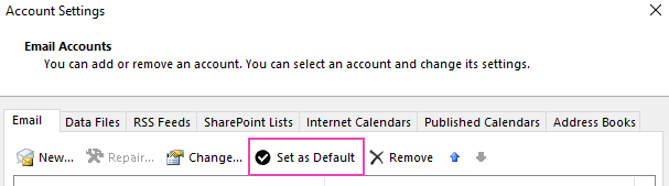 The Email Accounts settings pane in Windows showing how to set a default account
