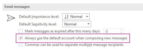 The Outlook Options screen showing where to select 'always use the default account'
