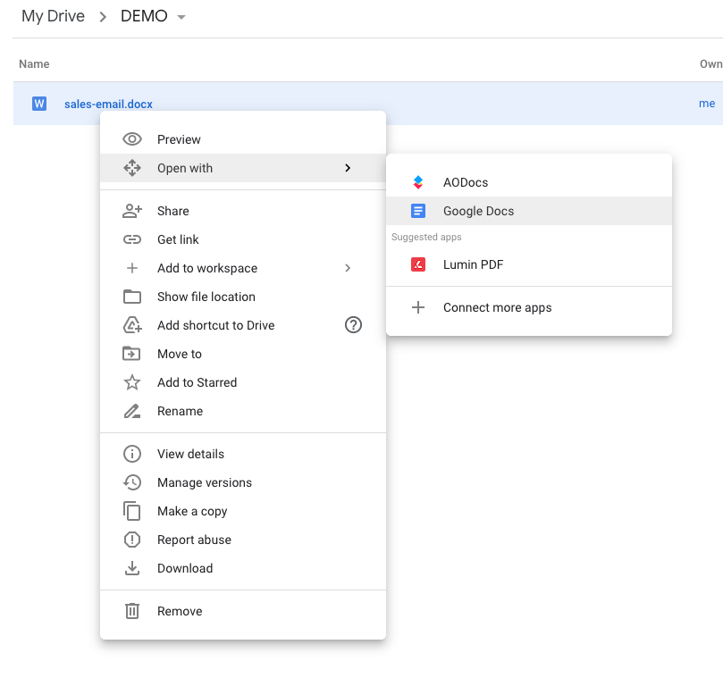 The Google Drive interface to open a file with Google Docs