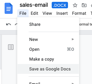 The file menu in Google Docs where you can select 'Save as Google Docs'