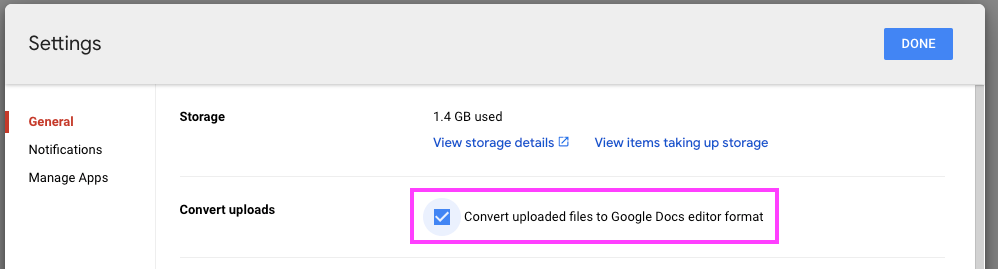The detailed settings view for Google Drive with 'Convert uploaded files to Google Docs editor format' highlighted