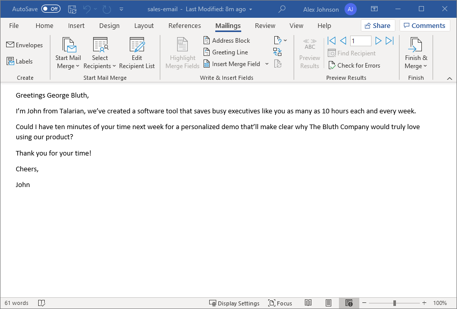 An email written in Microsoft Word to be used in Mail Merge