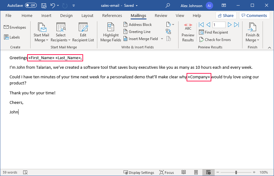 An email in Microsoft Word with merge fields inserted