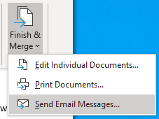 Shows the interface where you send email messages and finish an email mail merge from Word