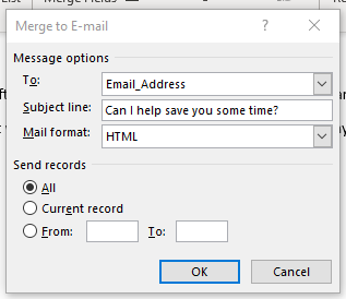 Shows the recipients dialog box for mail merge to email
