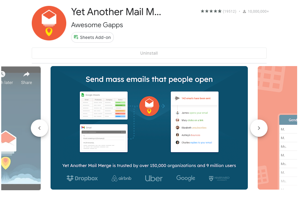 Installation screen for Yet Another Mail Merge add-on as seen in the Google Workspace Marketplace