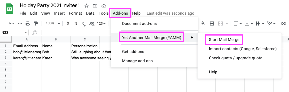 A screenshot showing exactly where to open YAMM from in the toolbar
