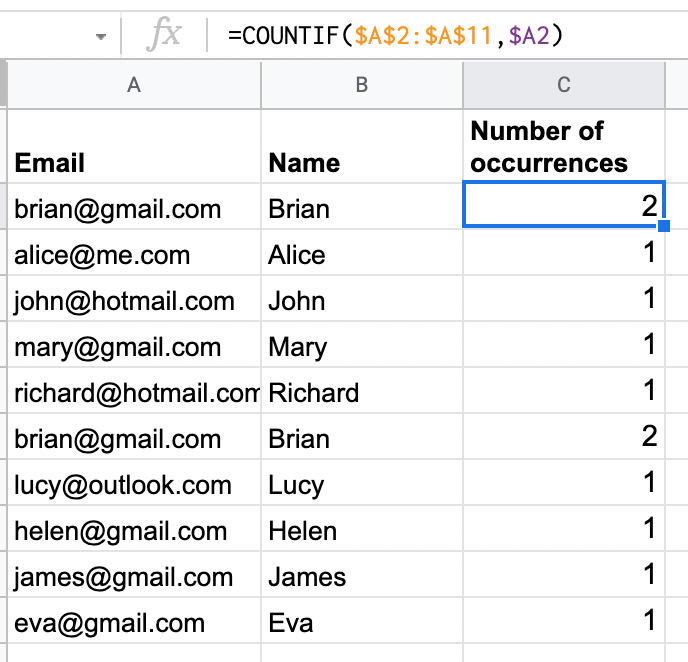Use COUNTIF formula to count how many times a value is repeated