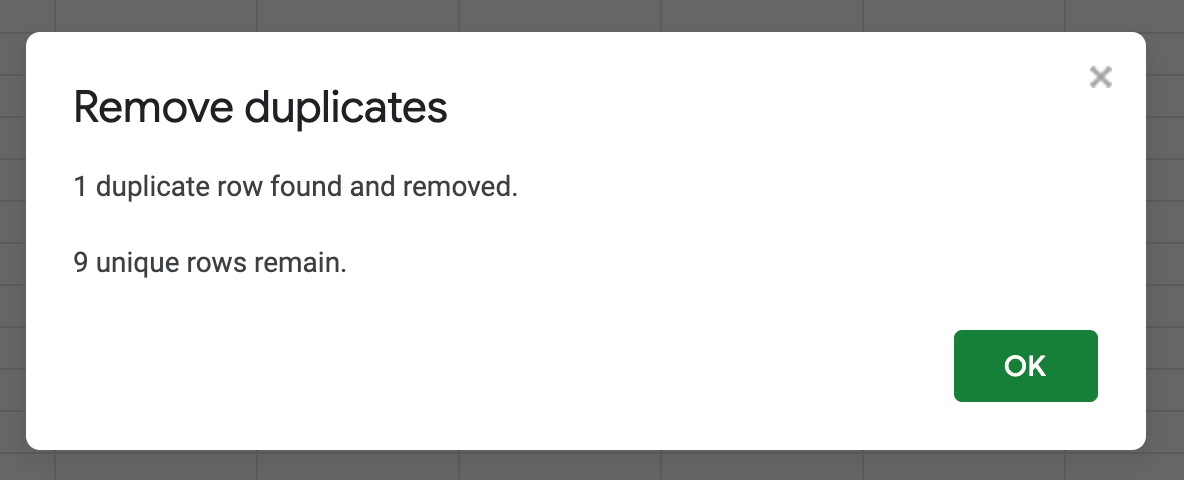 A pop-up informs how many duplicates were removed