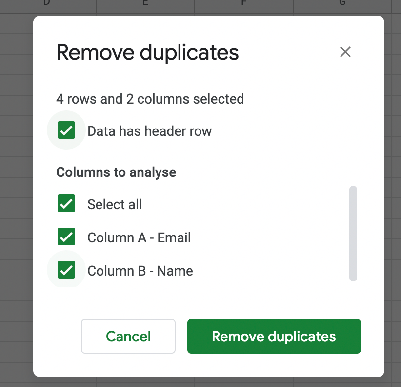 Check both columns to be analyzed for duplicates